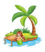 A fat mermaid at the beach — Stock vektor