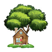 A cute girl outside the wooden house under the tree — Stock Vector
