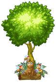 A bear and the three bees under the tree — Stock vektor