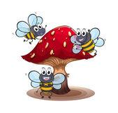 A big mushroom with smiling bees — Stock vektor