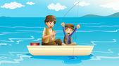 A father and a son fishing — Stock Vector