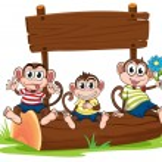 Three monkeys under the empty signboard — Stock Vector #47877327
