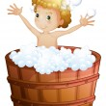 A young boy taking a bath — Stock Vector #47877765