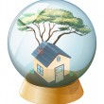 A crystal ball with a house inside — Stock Vector #47877953