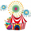 A clown sitting above the ball at the carnival — Stock Vector #47878169