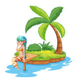 A pretty mermaid in the island — Stock Vector