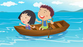 A boy and a girl boating — Stock Vector