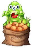 A sack of onions with a monster — Stock Vector
