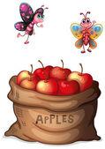A sack of crunchy apples — Stock Vector