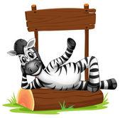 A zebra under the empty signboard — Stock Vector