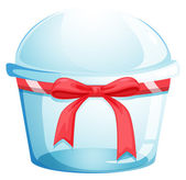 An empty disposable container with a red ribbon — Stock Vector