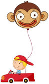 A red car with a boy and a monkey balloon — Stock Vector