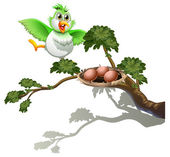 A cute bird at the branch of a tree with a nest — Stock Vector