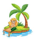 A mermaid at the beach — Stock Vector