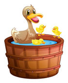 Ducks taking a bath at the bathtub — Vector de stock