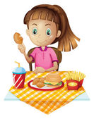 A girl eating at the fastfood store — Stock Vector