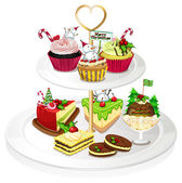A tray with cupcakes — Stock Vector