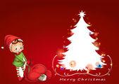 An elf beside the christmas tree — Vetor de Stock