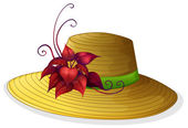 A fashionable hat with a plant — Stock Vector