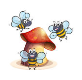 A big mushroom plant with three bees — Stock Vector
