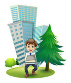 A hardworking man outside the building — Stock Vector