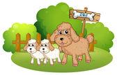 Cute dogs near the signboard — Stock Vector