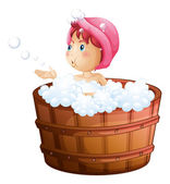 A young girl playing with the bubbles while taking a bath — Stock Vector