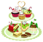 Baked goods arranged in the tray — Stock Vector