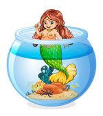 An aquarium with a mermaid — Stock Vector