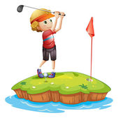An island with a boy playing golf — Stock Vector