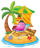 A pink monster in the island — Stock Vector