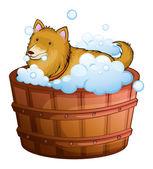 A big dog at the bathtub — Stock Vector