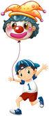A boy holding a clown balloon — Stock Vector