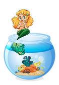 A jar with a mermaid — Stock Vector