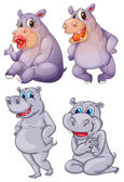 Four hippopotamus — Vector de stock