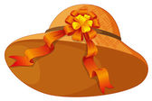 A fashionable brown hat with a cute ribbon — Stock Vector