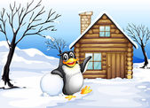 A penguin outside the house — Stock Vector