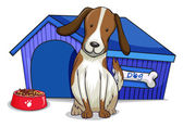 A dog outside the blue house — Stock Vector