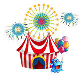 A circus tent with a monster in the front — Stock Vector