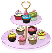 Cupcakes in the cupcake tray — Stock Vector
