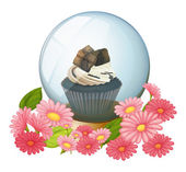 A chocolate cupcake inside the crystal ball — Stock Vector