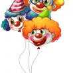 Three colourful clown balloons — Stock Vector
