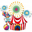 A carnival with a clown holding balloons — Stock Vector #47903473