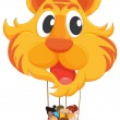 A tiger balloon with a basket full of kids — Stock Vector #47903529