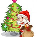 Santa Claus near the christmas tree — Stock Vector