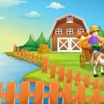 A boy at the farm — Stock Vector #47903597