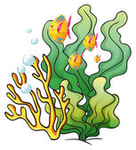 A school of fishes near the seaweeds — Stock Vector
