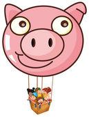 En gris ballong bär en korg med barn — Stockvektor