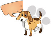 A puppy with an empty rectangular callout — Stock Vector