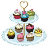 A cupcake tray full of cupcakes — Stock Vector